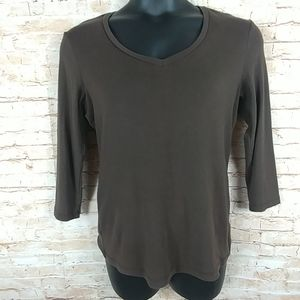 Chico's Brown 3/4 Sleeve V-neck tee-shirt Size 1